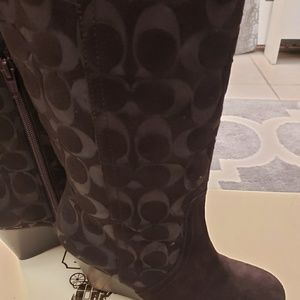 Coach Shoes - Brand new Coach  Angie signature brown wedge boots